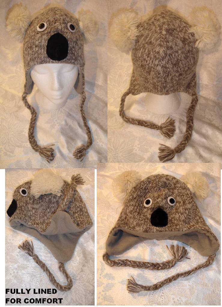 KOALA HAT knit LINED costume ADULT gray grey bear unisex delux MITTENS separa...