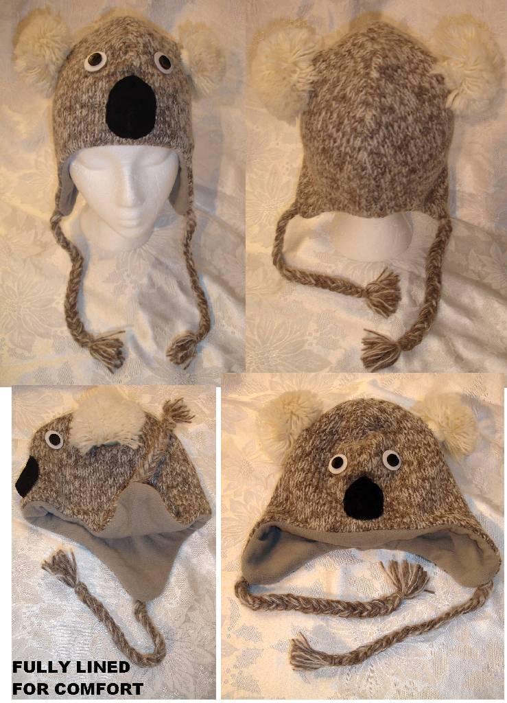 Knitting Pattern For Koala Bear Mittens : KOALA HAT knit LINED costume ADULT gray grey bear unisex delux MITTENS separa...