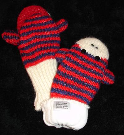 Knitting Pattern For Sock Monkey Mittens : deLux STRIPED sock MONKEY MITTENS knit ADULT knit RED & BLUE puppet HAT S...
