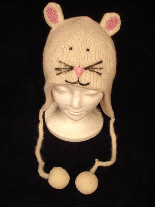 White Mouse Hat Knit Ski Cap Animal Adult Fleece Lined White Delux New Costume