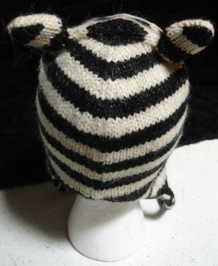 Knitting Pattern For Zebra Hat : deLux ~ ZEBRA HAT knit ADULT toque beanie costume LINED striped horse animal ...